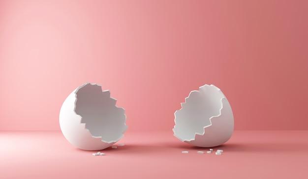 Leeres gebrochenes weißes ei auf rosa