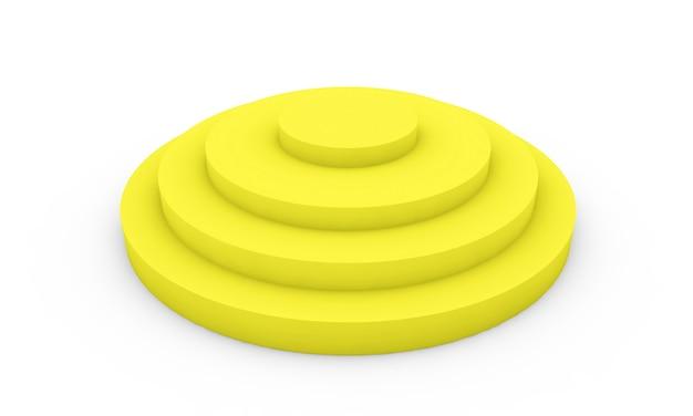 Leeres gelbes podium 3d-darstellung auf weißem hintergrund