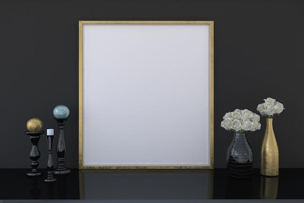Leeres goldenes fotorahmenmodell mit blumenvasen