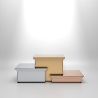 Leeres goldenes, silbernes und bronzenes podium, das den ersten, zweiten und dritten platz bedeutet.