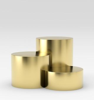 Leeres goldsiegerpodium auf weißem hintergrund. 3d-rendering.