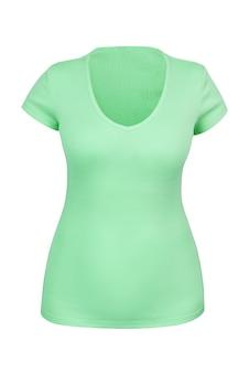 Leeres grünes t-shirt mit v-ausschnitt für frau mit unsichtbarer oder geister-mannequin-technik. isoliert. kann als modell verwendet werden