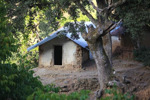 Leeres haus im wald; verlassenes altes haus; altes traditionelles haus einer marokko-landschaft