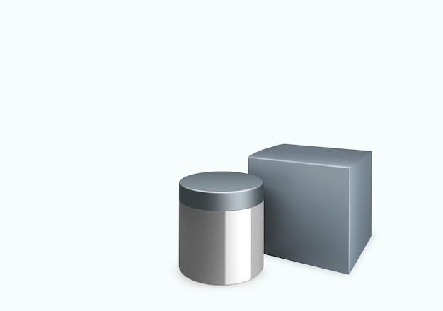 Leeres hellgraues kosmetikglas auf weißem hintergrund mit abstrichcreme im vorderansichtswinkel, 3d-darstellung