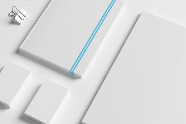 Leeres identitätsbriefpapier eingestellt auf weiß.