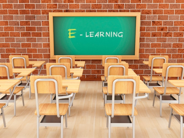 Leeres klassenzimmer 3d und tafel mit e-learning.