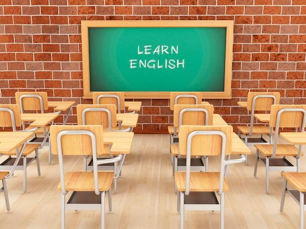 Leeres klassenzimmer 3d und tafel mit lernen englisch.