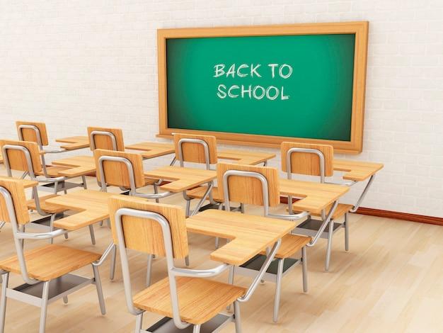 Leeres klassenzimmer 3d und tafel mit zurück zu schule.