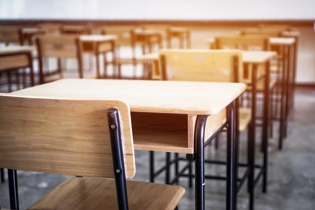 Leeres klassenzimmer der schule, vortragsraum mit schreibtischstühlen aus eisenholz für unterrichtsstunden