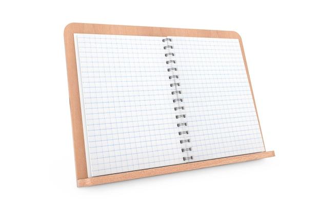 Leeres kochbuch mit freiem platz für ihr design auf holzbuchhalter auf weißem hintergrund. 3d-rendering