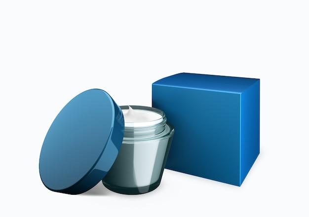 Leeres kosmetikglas mit blauem himmel auf weißem hintergrund mit abstrichcreme im vorderansichtswinkel, 3d-darstellung