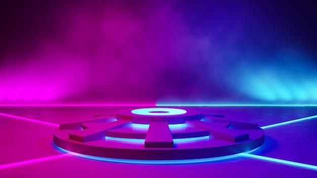 Leeres kreisstadium mit rauche und purpurrotem neonlicht