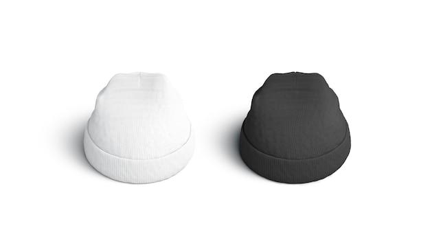 Leeres leeres und weißes beanie-set, isoliert, 3d-rendering.