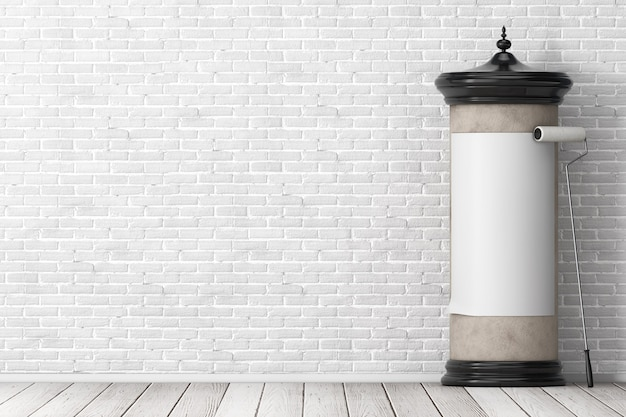 Leeres leeres zylindrisches werbesäulen-billboard-mockup mit freiem platz für ihr design mit klebepinsel vor der mauer. 3d-rendering