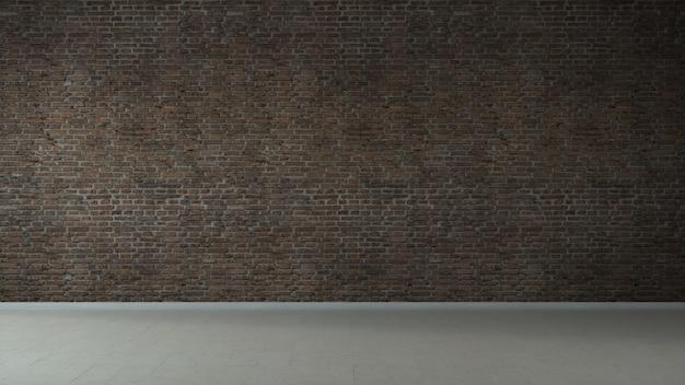 Leeres loft-industrie-grunge-interieur. alte backsteinmauern und marmorboden. innenkonzept 3d-illustration.