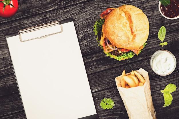 Leeres menü des schnellrestaurants
