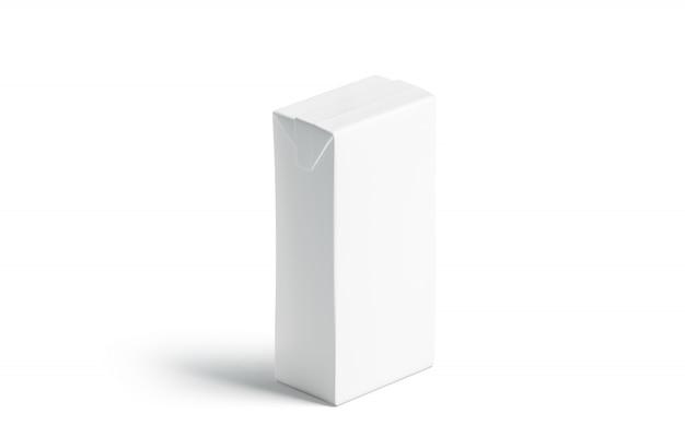 Leeres modell der weißen saftpackung, isoliert stehen