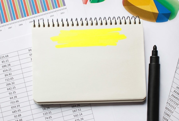Leeres notizbuch für geschäftskonzepte, geschäftlicher hintergrund
