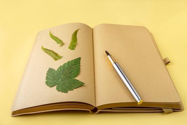 Leeres offenes vintage-tagebuch, notizbuch mit herbarium verschiedener gepresster getrockneter pflanzen und stift. schreiben von wünschen, zielen, plänen, aktivitäten. botanischer satz wilder blumen, kräuter. platz für text kopieren