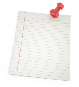 Leeres papier für notizen mit schatten-reißnagel isoliert auf einem weiß.