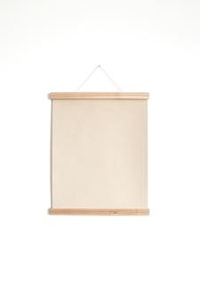 Leeres papier leinwandblatt poster auf weißer wand