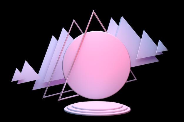 Leeres pastellrosa-zylinderpodest mit dreiecksrahmen isoliert auf schwarzem hintergrund abstraktes minimales studio 3d-objekt mit geometrischer form mockup-raum für die anzeige von produktdesign