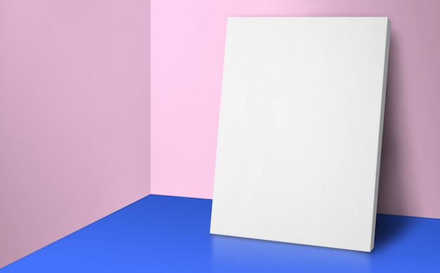 Leeres plakat an der ecke pastellrosa und blaues studiozimmer mit wand- und bodenhintergrund
