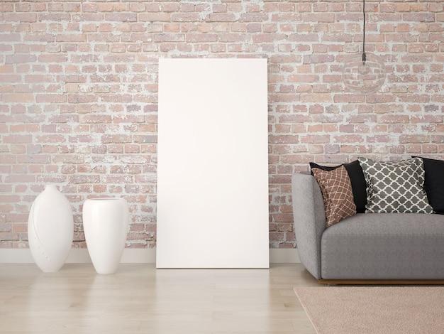 Leeres plakat auf dem boden mit einem sofa und vasen