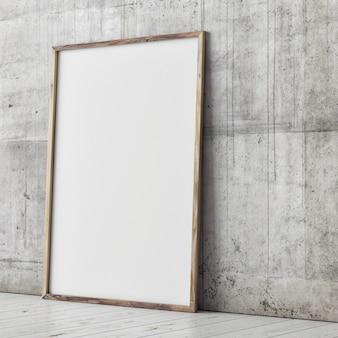 Leeres plakat auf der perspektivischen ansicht der betonwand