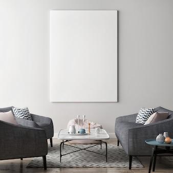 Leeres plakat im skandinavischen wohnzimmerstil