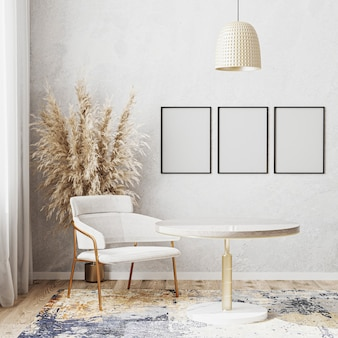 Leeres plakatrahmenmodell in hellem raum mit rundem luxus-esstisch, weißem stuhl, teppich des modernen designs, skandinavischem stil, 3d-darstellung