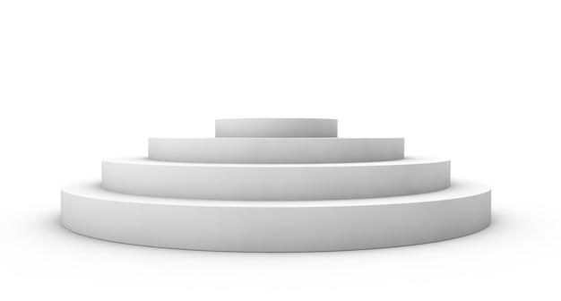 Leeres podium auf weißem hintergrund. 3d-rendering