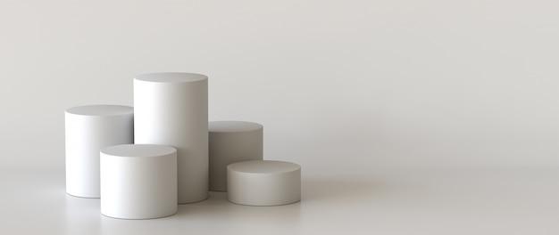 Leeres podium auf weißem hintergrund. 3d-rendering.