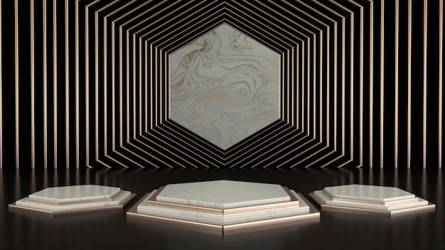 Leeres podium der abstrakten geometrischen form. minimale szene quadratischen schritt boden abstrakte komposition. leere vitrine, sockelplattformanzeige