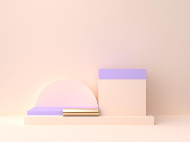 Leeres podium der geometrischen form 3d, das violett-purpurrote wandszene der creme überträgt