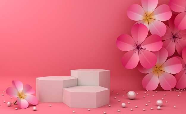 Leeres podium für die präsentation kosmetischer produkte. 3d-rendering