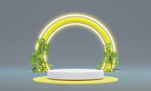 Leeres podium für produktpräsentation mit pflanzendekoration