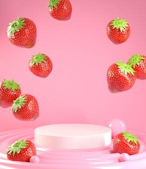 Leeres podium für show-produkt mit erdbeere, die auf creme fällt. 3d-rendering