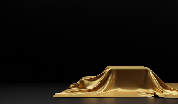 Leeres podium mit goldenem stoff auf schwarz bedeckt