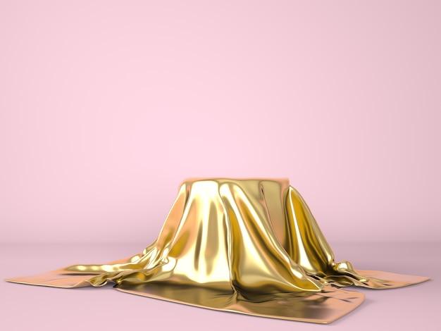 Leeres podium mit goldenem tuch bedeckt.