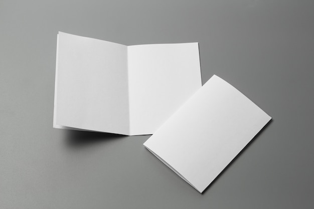 Leeres porträt a4. broschürenmagazin lokalisiert auf grau