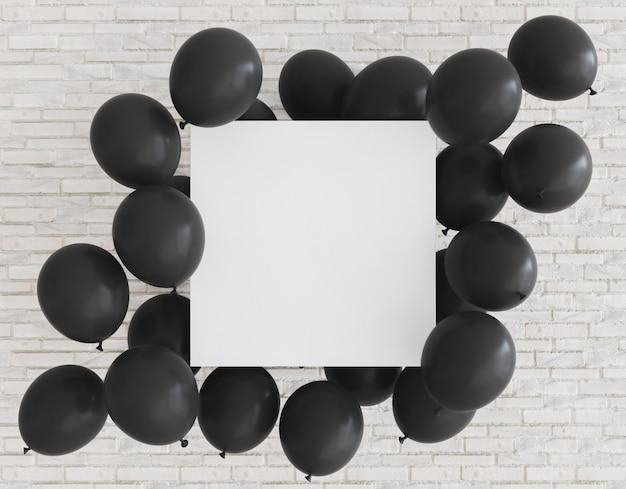 Leeres poster mit schwarzen luftballons
