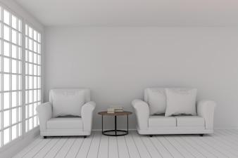 Leeres Reinraumdesign mit Sofa stellte in Reinraum in der Wiedergabe 3D ein