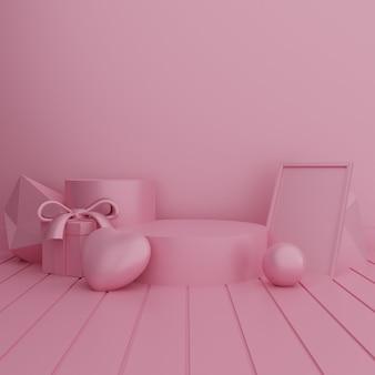 Leeres rosa podium mit geschenkbox und liebesformballon für produktpräsentation