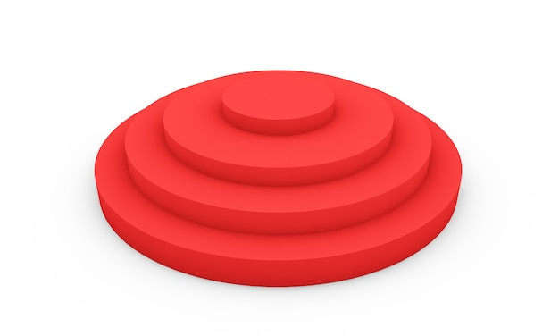Leeres rotes podium 3d-darstellung auf weißem hintergrund