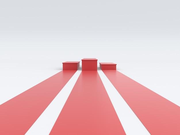 Leeres rotes siegerpodium auf weißem hintergrund. 3d-rendering.