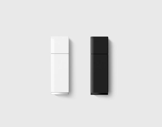Leeres schwarz-weiß-usb-laufwerk-design-mock-up-set