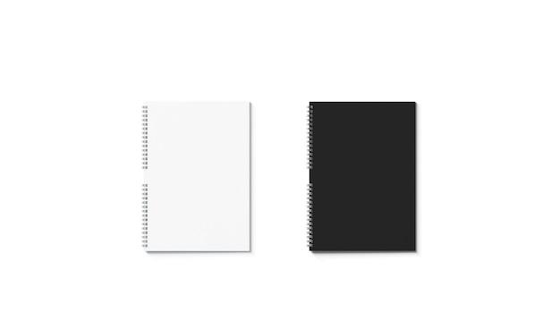 Leeres schwarz-weißes geschlossenes notebook-mockup leeres a4-jotter-mockup klare notiz für speichertext