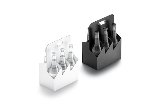 Leeres schwarz-weißes glas bierflaschenkartonhalter mockup leerer karton sixpack mockup