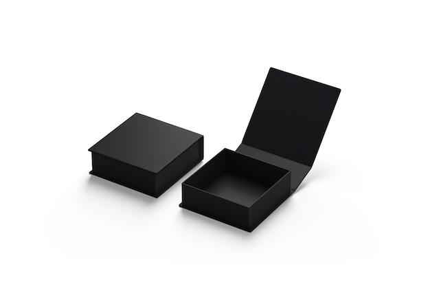 Leeres schwarzes geöffnetes und geschlossenes geschenkbox-set, isoliert